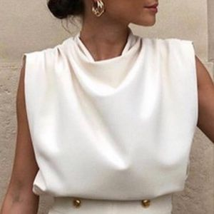 NWT ZARA sleeveless draped high neck top ivory